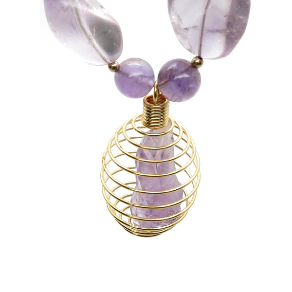 Amethyst Necklace 38 Cage Purple Point Beaded Natural Stone - I Dig Crystals