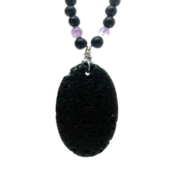Amethyst Necklace 40 Lava Black Purple Stone Silver Beaded - I Dig Crystals
