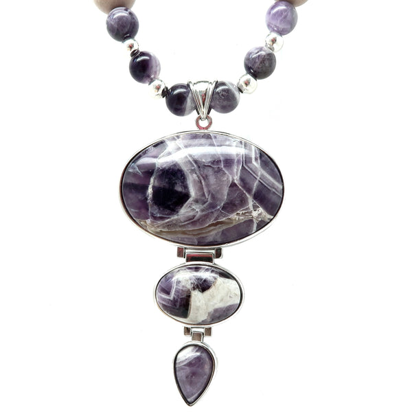 Amethyst Necklace 73 - Chevron Purple Beaded Statement
