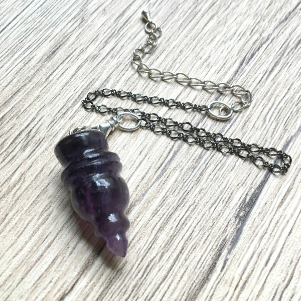 Amethyst Pendulum 08 Carved Purple Point Gunmetal - I Dig Crystals