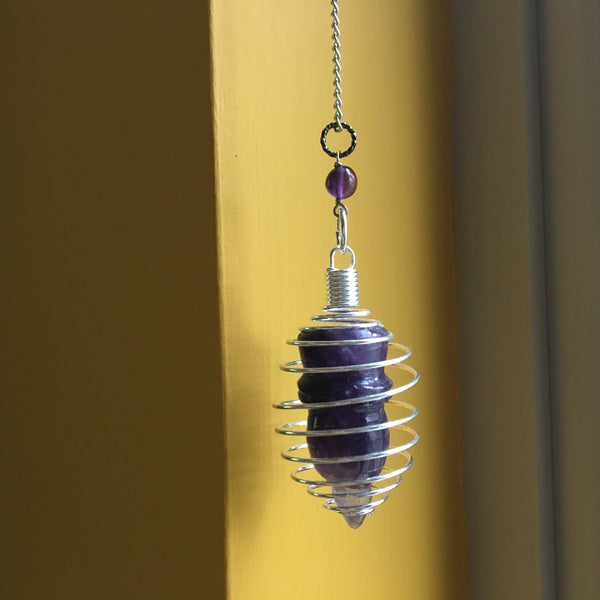 Amethyst Pendulum 09 Silver Cage Purple Point - I Dig Crystals