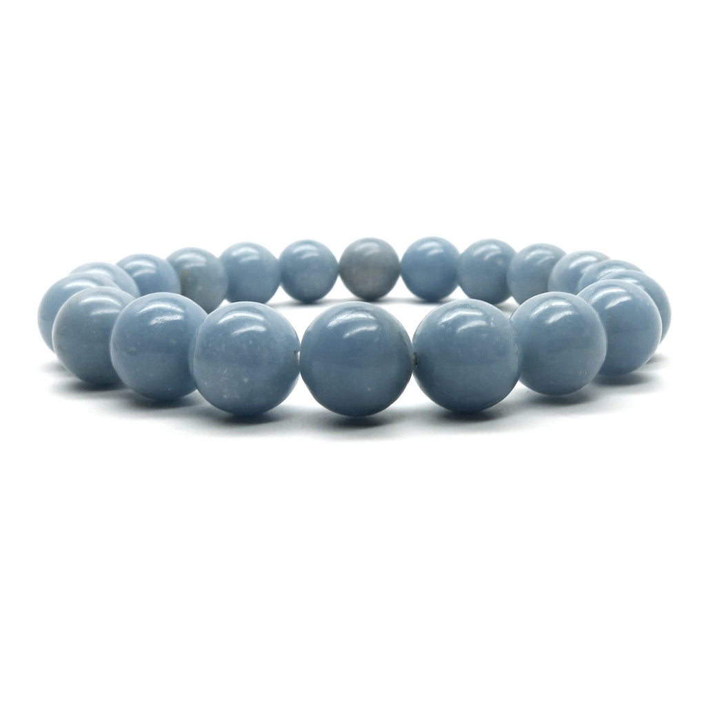 Angelite Bracelet 02 Stretch 9-10mm Round Blue Stone - I Dig Crystals