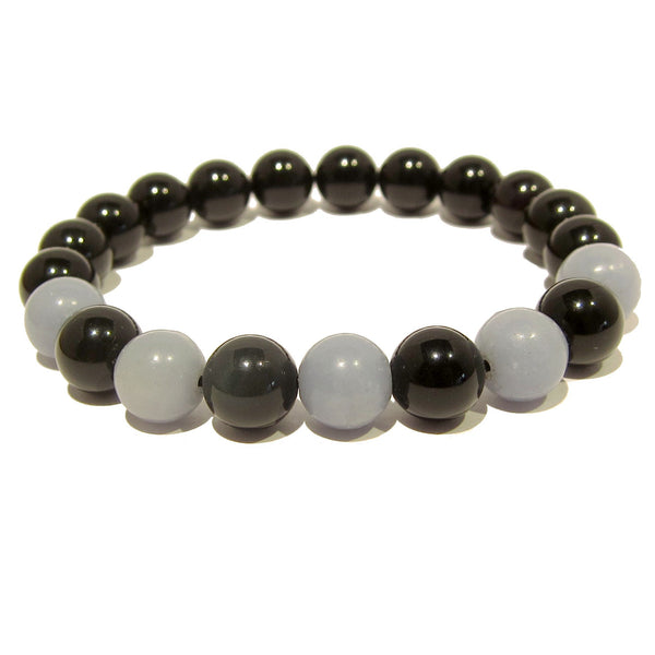 Angelite Bracelet 04 Stretch 10mm Rainbow Obsidian Black Blue - I Dig Crystals