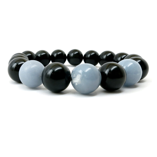 Angelite Bracelet 08 Rainbow Obsidian Black Blue Chunky 11-12mm - I Dig Crystals