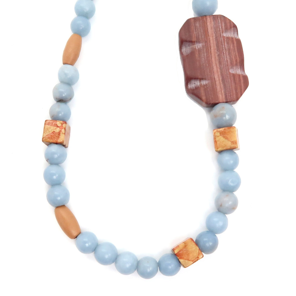 Angelite Necklace 10 - Redline Marble Chunky Wood