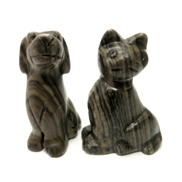 Animal Set 08 Cat Dog Brown Striped Jasper Stone Carvings - I Dig Crystals