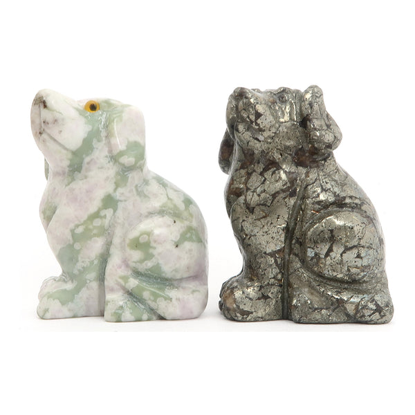 Animal Set 16 - Dog Pair Gold Pyrite Green Serpentine