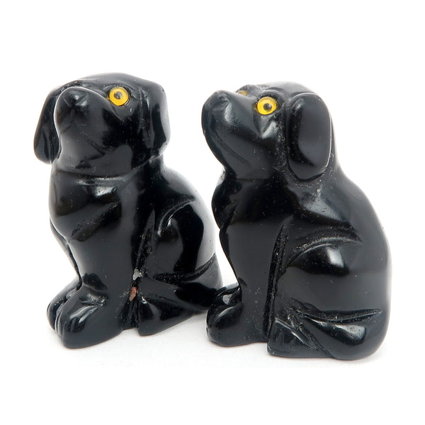 Animal Set Onyx 01 Black Stone Dog Pair