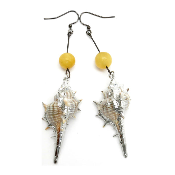 Aragonite Earrings 07 Murex Shell Silver Dipped Yellow Stone - I Dig Crystals
