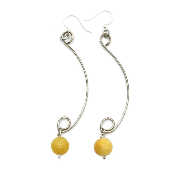 Aragonite Earrings 09 Silver Curve Yellow Gemstone - I Dig Crystals