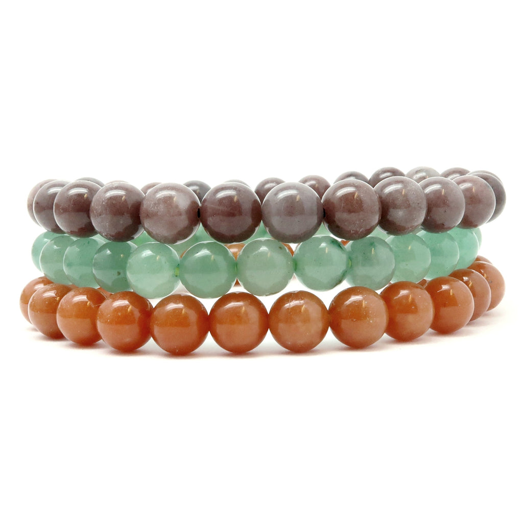 Aventurine Bracelet 01 - Trio Green Purple Red Orange Stretch Set