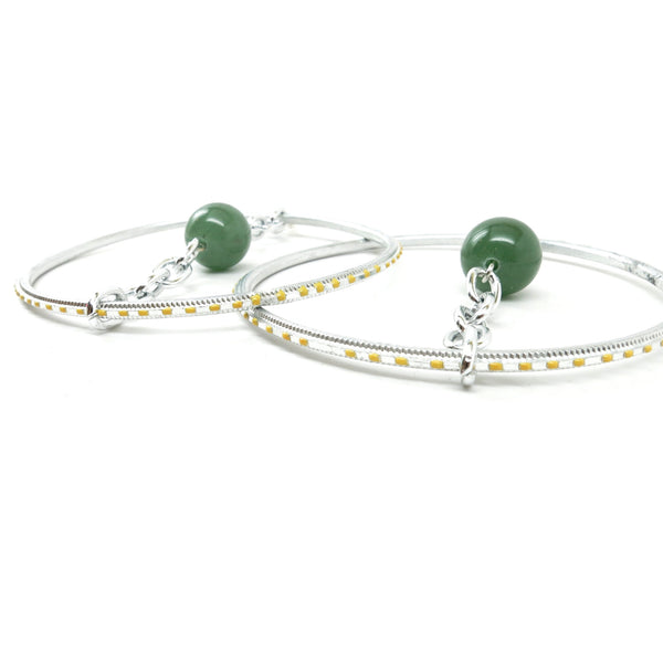 Aventurine Earrings 40 Hoop Green Gemstone Silver Chain - I Dig Crystals