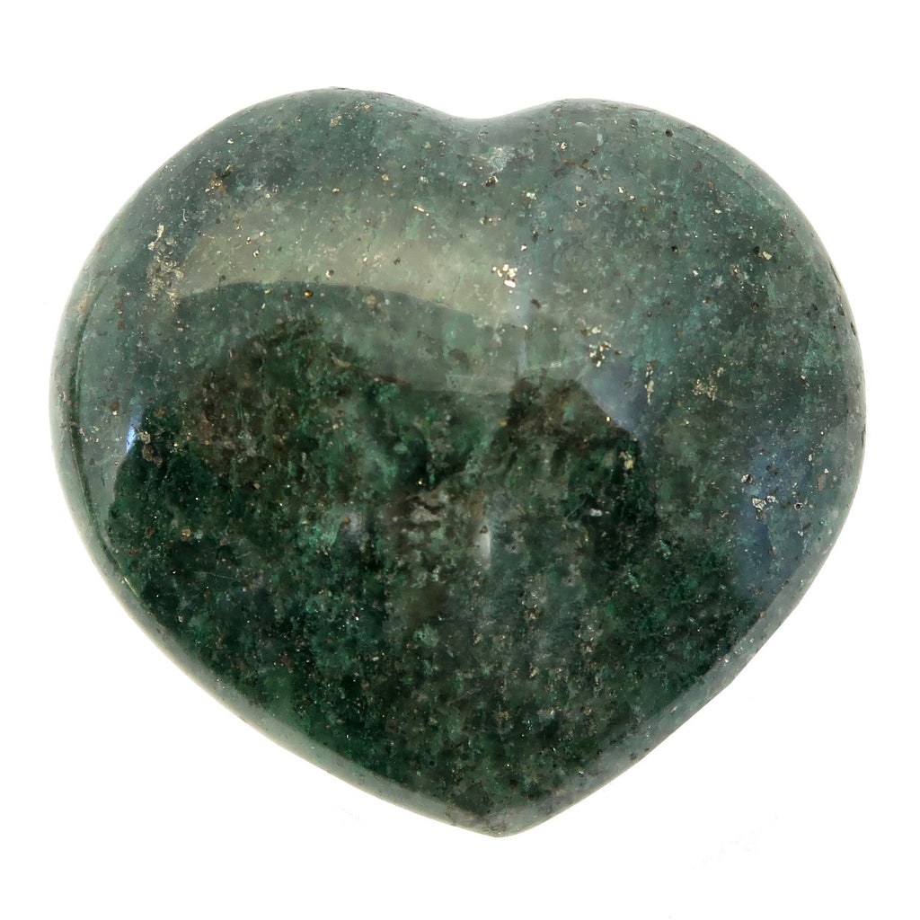 Aventurine Heart 03 - Dark Green Glittering Stone (2.4 Inches)