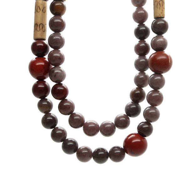 Aventurine Necklace 16 Multi-strand Purple Red Jasper Bamboo - I Dig Crystals