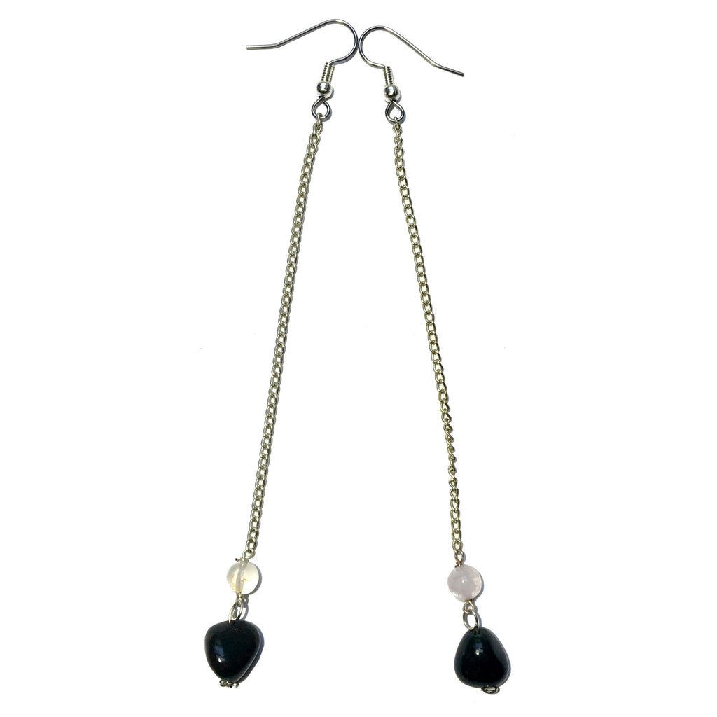 Bloodstone Earrings 16 Quartz Extra Long Chains - I Dig Crystals