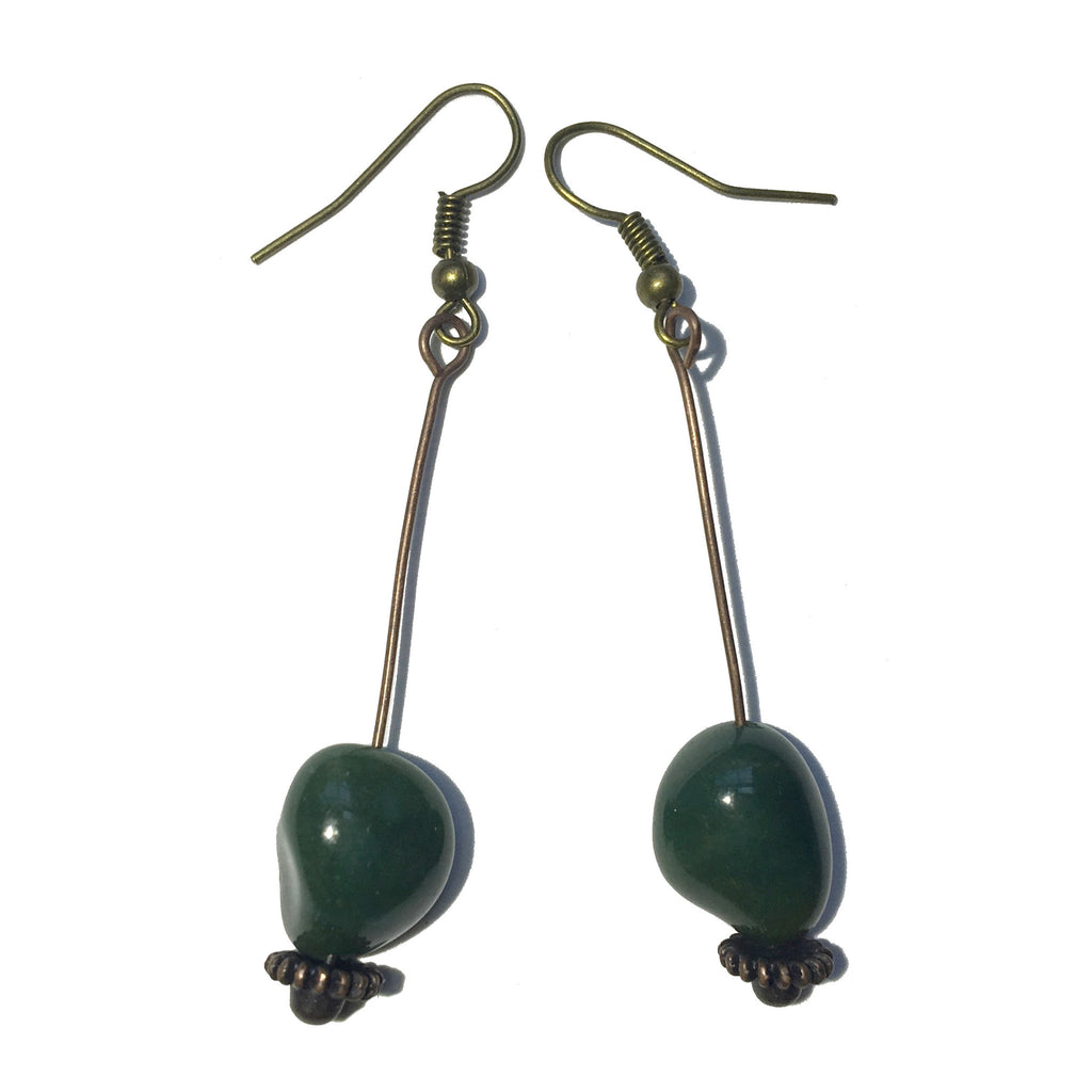Bloodstone Earrings 22 Nugget Antiqued Brass - I Dig Crystals