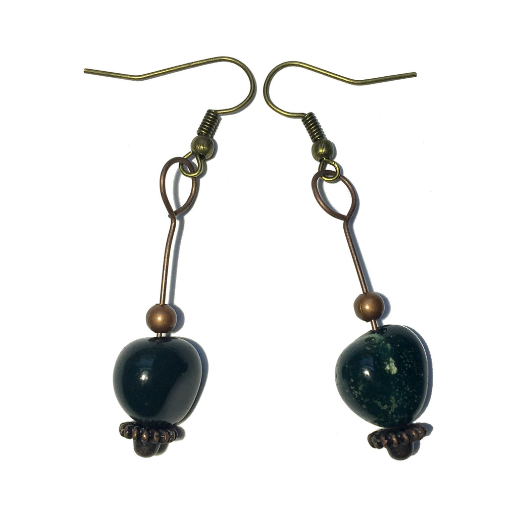 Bloodstone Earrings 23 Green Nugget Antiqued Brass - I Dig Crystals
