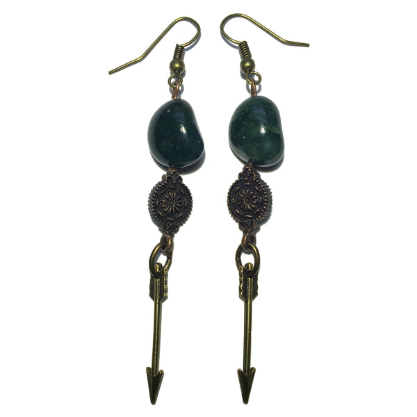 Bloodstone Earrings 24 Archery Antiqued Brass - I Dig Crystals