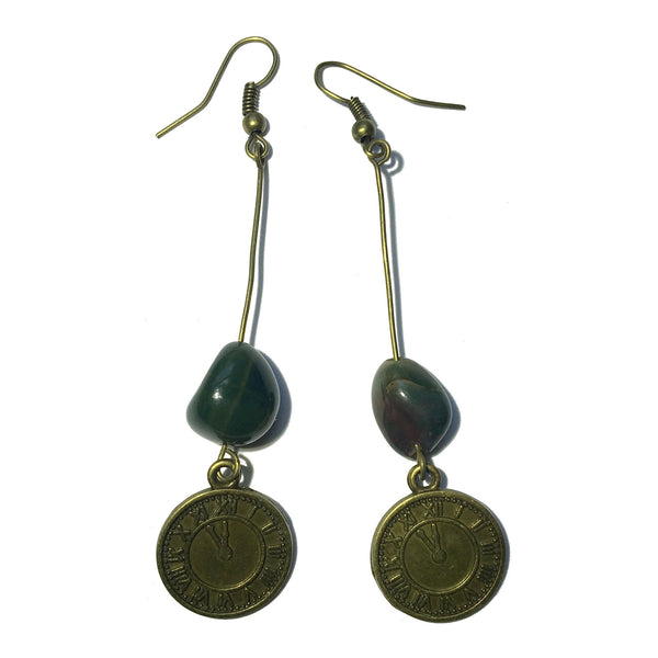 Bloodstone Earrings 27 Steampunk Clock Stone - I Dig Crystals