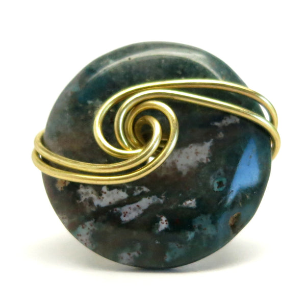 Bloodstone Ring 11 Green Donut Stone Gold Wire Wrapped (Size 5.5)
