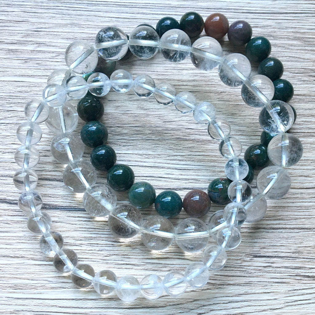 Bracelet Set 12 Quartz & Bloodstone Stretch Round (8 Inches) - I Dig Crystals