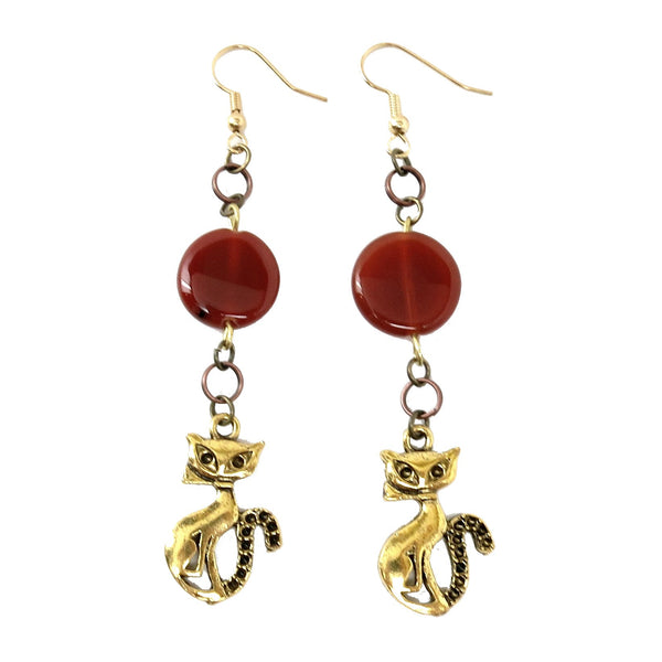 Carnelian Earrings 20 Cat Gold Orange Stone Animal - I Dig Crystals