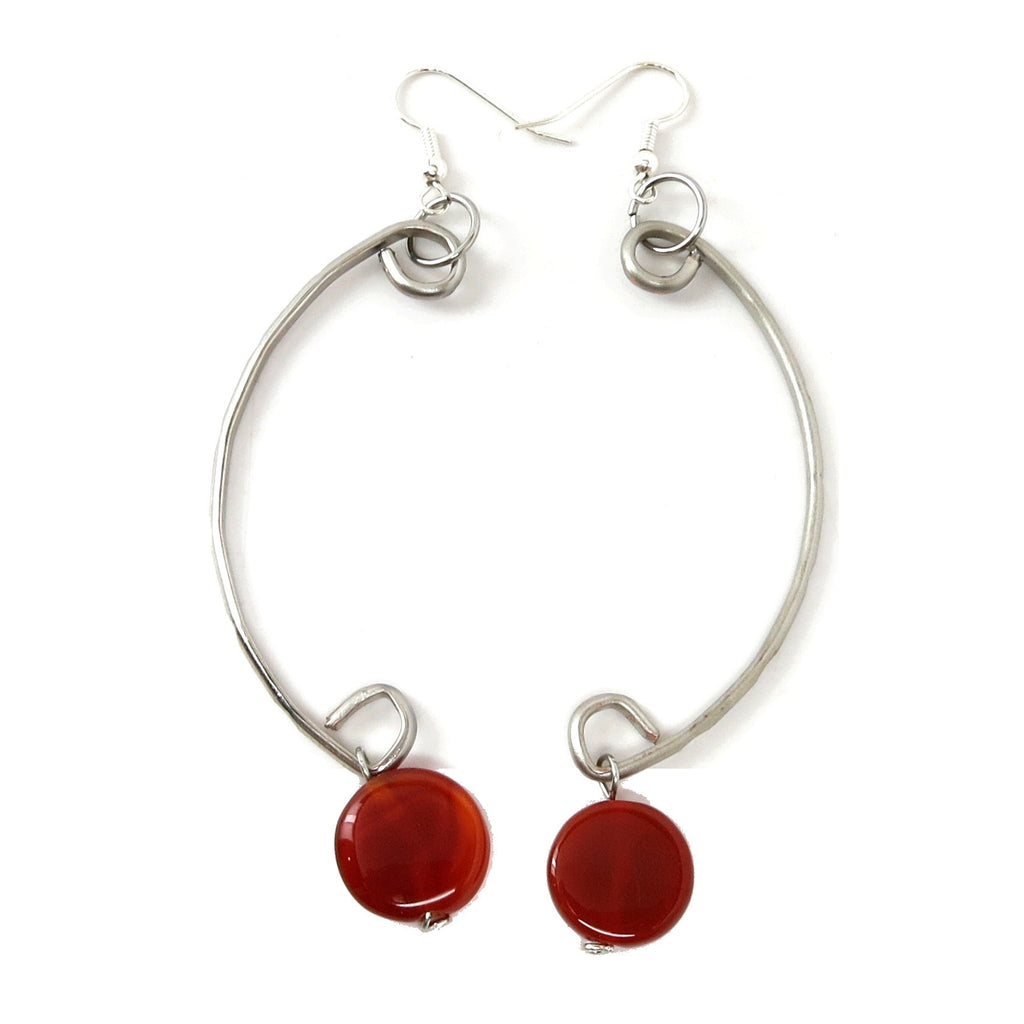 Carnelian Earrings 21 Curve Silver Orange Sard Circle Dangle - I Dig Crystals