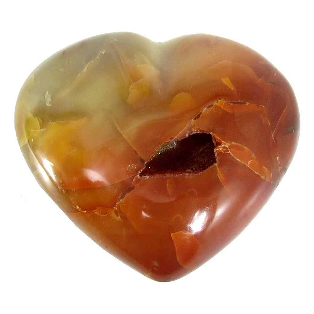 Carnelian Heart 04 Drusy Quartz Cave Orange Puffy Stone (3.4 Inches) - I Dig Crystals