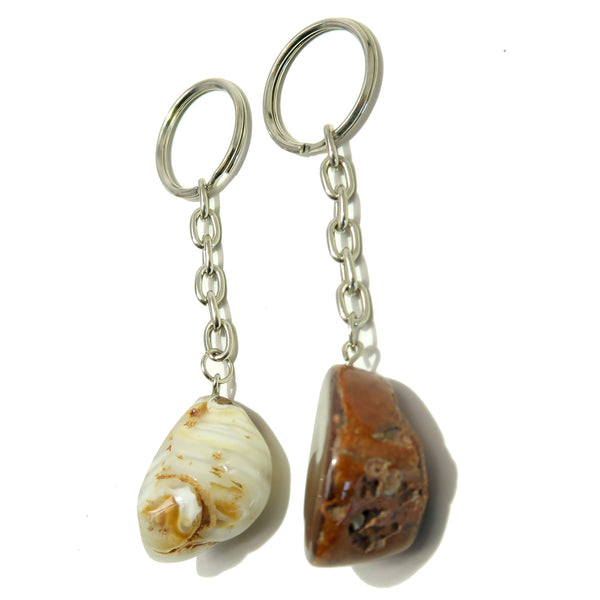 Carnelian Keychain 03 Set Orange White Smooth Geode Stone Pair