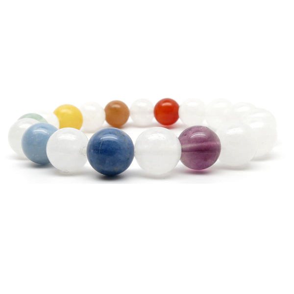 Chakra Bracelet 02 Stretch 9-10mm Round Quartz Stone