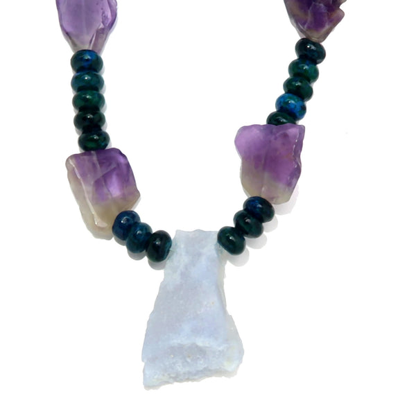 Chalcedony Necklace 07 Amethyst Blue Beaded