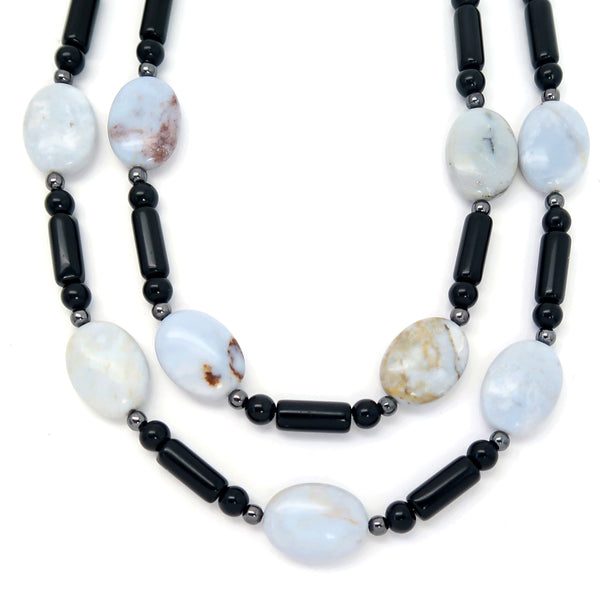 Chalcedony Necklace 09 - Black Obsidian Multi-strand