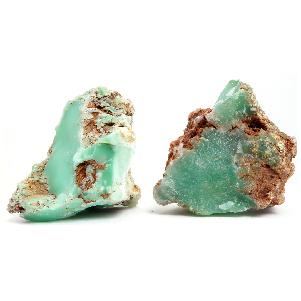 Chrysoprase Mineral 01 - Set Green Stone Pair