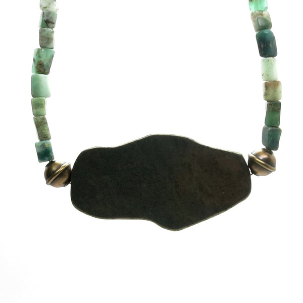 Chrysoprase Necklace 25 Pyrite Slab Green Beaded Stone - I Dig Crystals
