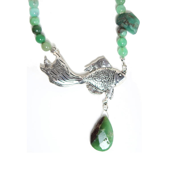 Chrysoprase Necklace 26 Fish Green Beaded
