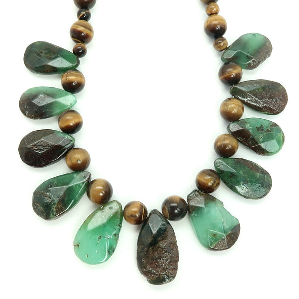 Chrysoprase Necklace 27 - Brown Tigers Eye Green
