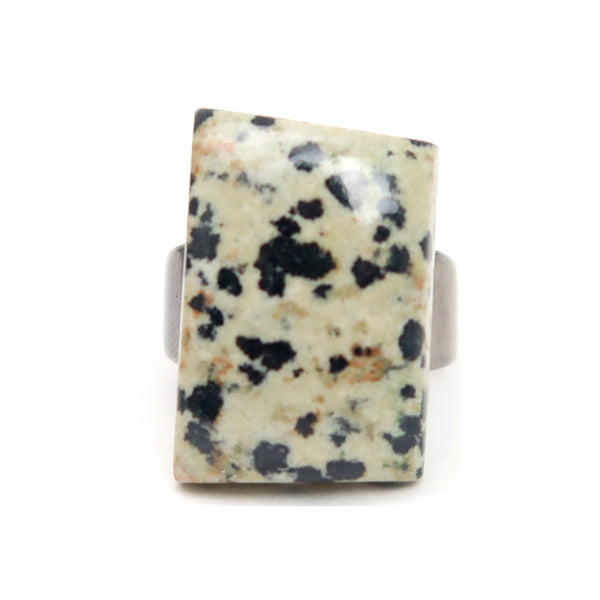 Dalmatian Jasper Ring 01 - Gunmetal Rectangle (Size 7.25)