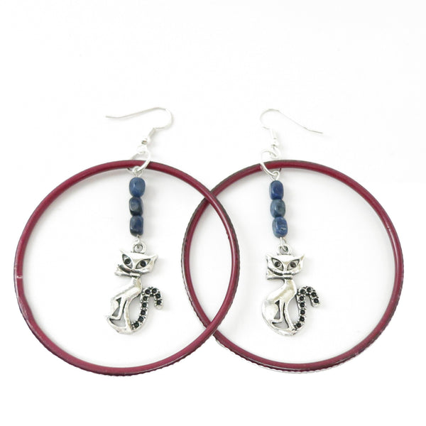 Dumortierite Earrings 05 Cat Blue Stone Gem Red Hoop Silver