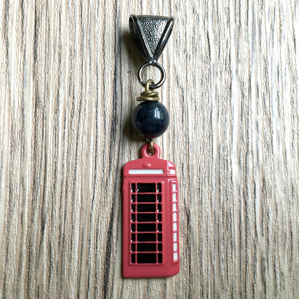 Dumortierite Pendant 01 Blue Stone Red Phonebooth - I Dig Crystals