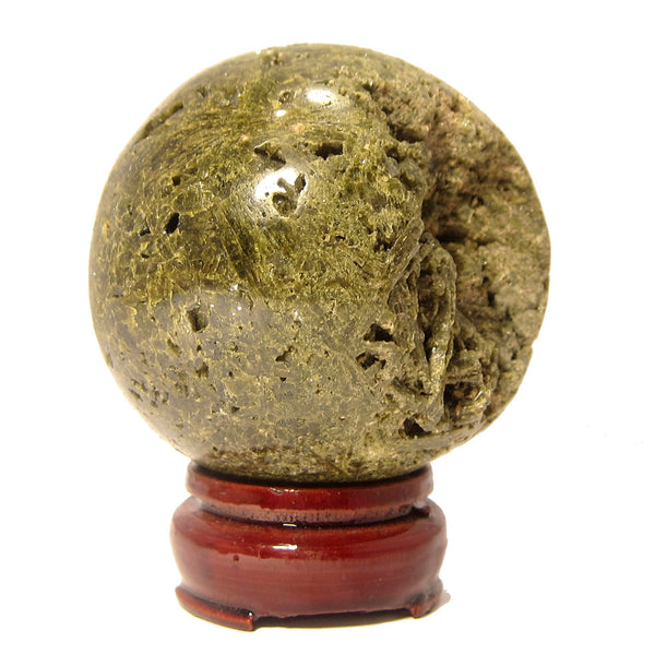 Epidote Ball 03 Green Cluster Crystal Sphere Stone (1.1 Pounds, 2.9 Inches) - I Dig Crystals