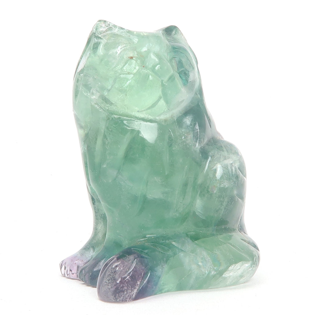 Fluorite Cat 07 Purple Rainbow Animal (2.2 Inches)