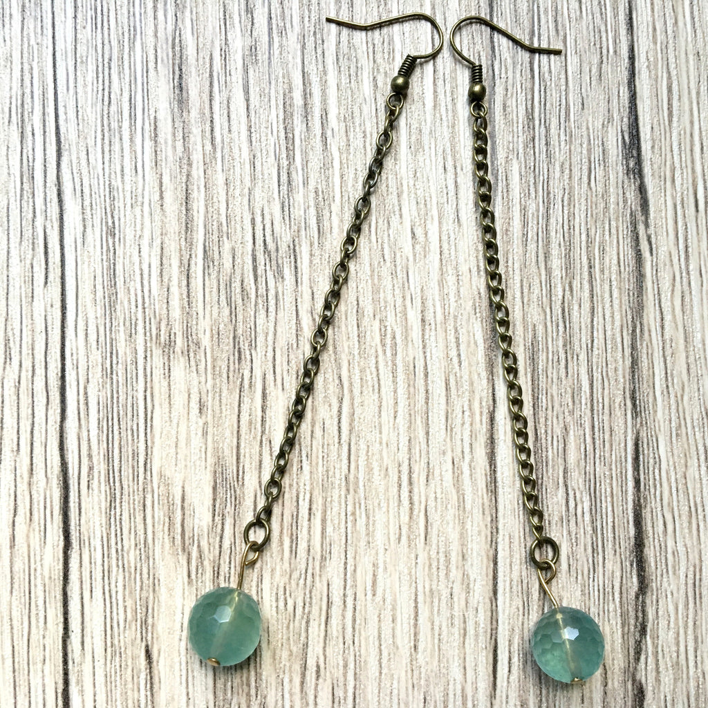 Fluorite Earrings 12 Faceted Blue Green Long - I Dig Crystals