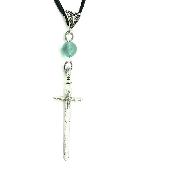 Fluorite Necklace 20 - Silver Sword Green Black Leather