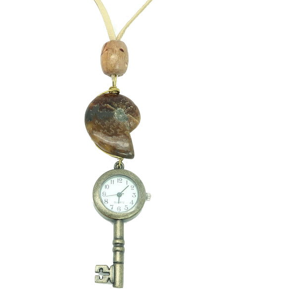 Fossil Necklace 28 - Watch Key Yellow Ammonite Leather