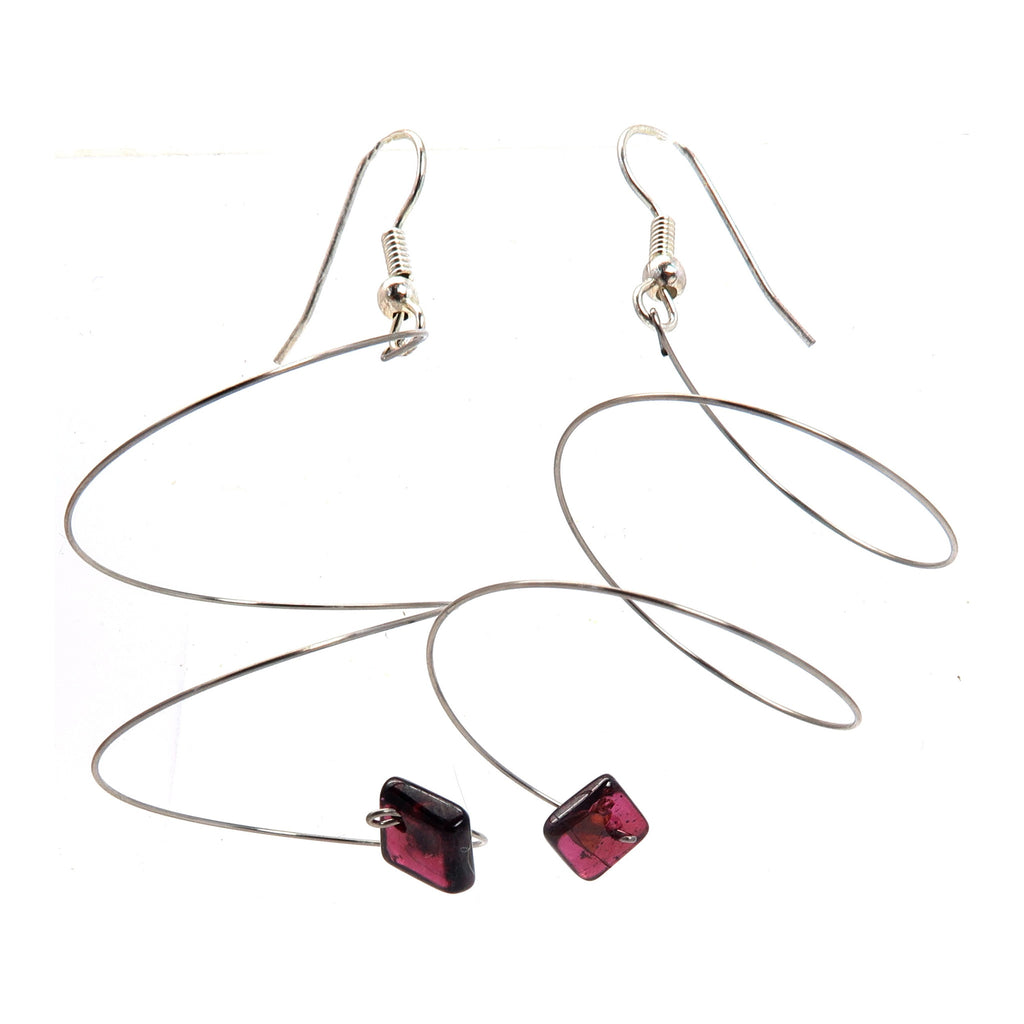 Garnet Earrings 01 - Spiral Silver Coil Red Stone