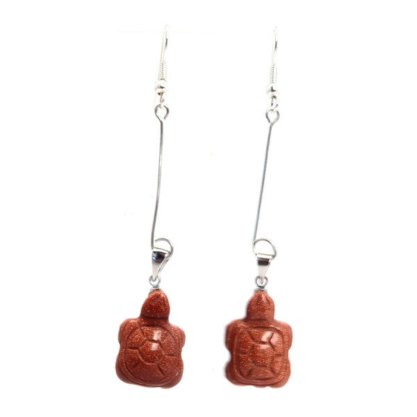 Goldstone Earrings 01 - Turtle Animal Glittering Brown