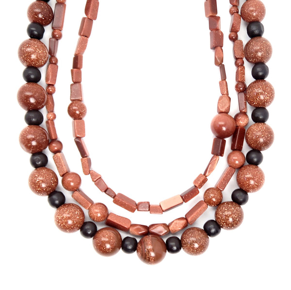 Goldstone Necklace 03 - Wood Brown Triple Multi-Strand
