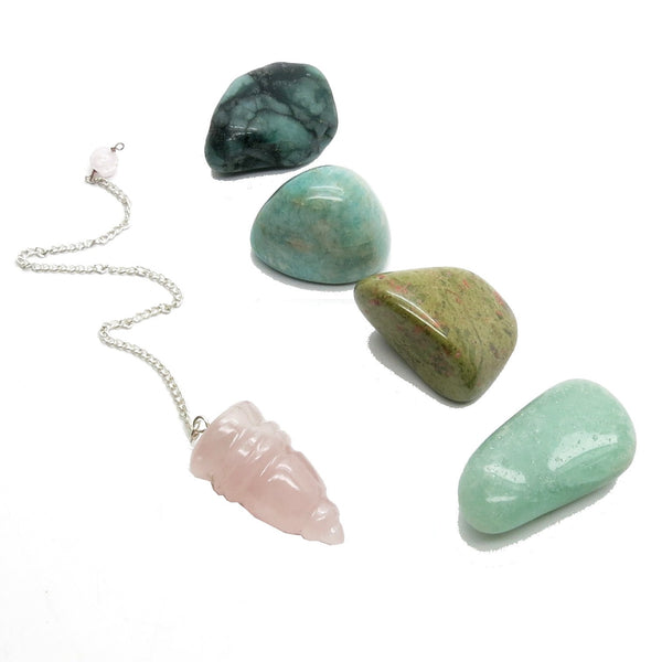 Heart Chakra Set 01 Rose Quartz Pendulum Tumbled Stones