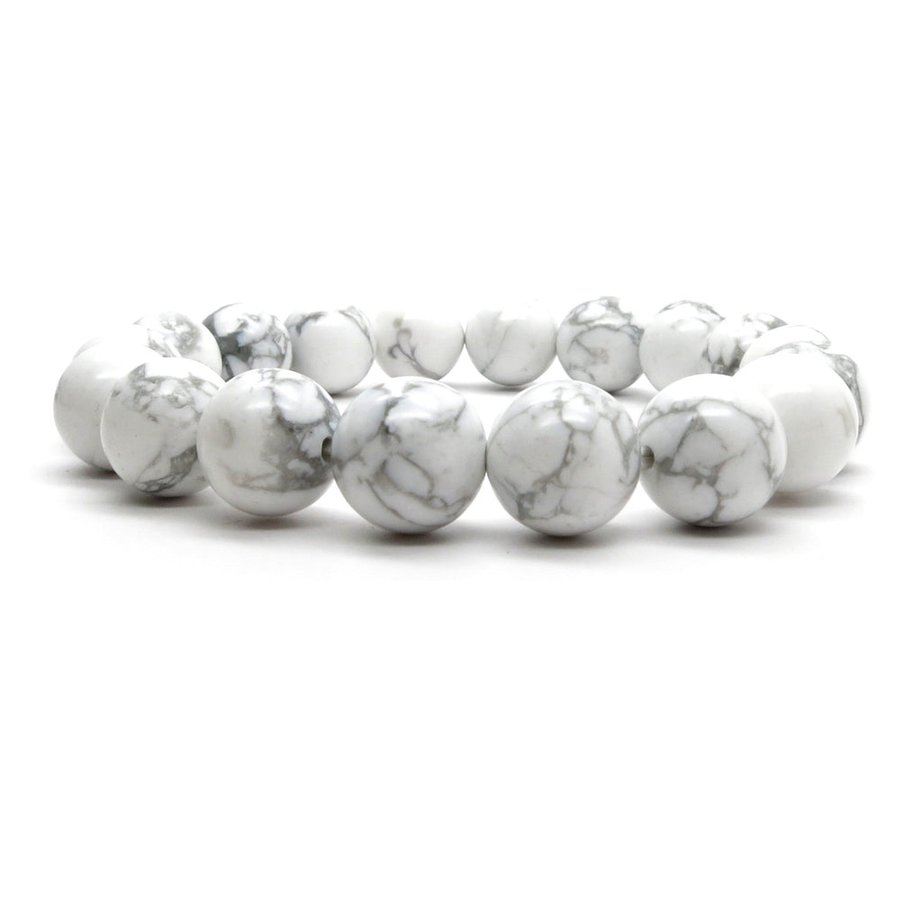 Howlite Bracelet 01 Stretch 9-10mm White Gray Round Stone