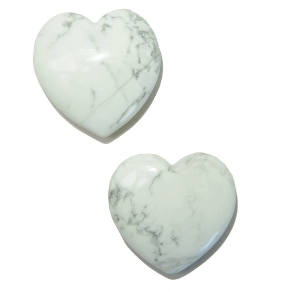 Howlite Heart 01 Pair White Gray Stone Set